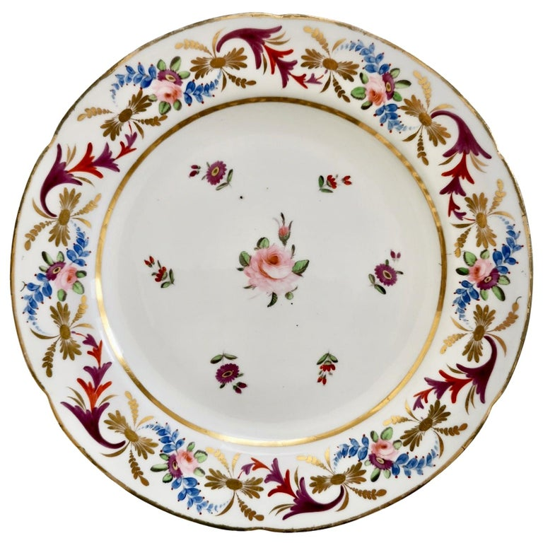 John Rose Coalport Porcelain Plate, Improved Feldspar, Regency Pattern ca 1825