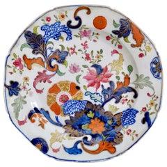 John Rose Coalport Porcelain Plate, Japanese Fan Pattern, George III, circa 1800