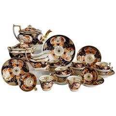 John Rose Coalport Porcelain Tea Service, Regency Imari Patt. 128, circa 1815
