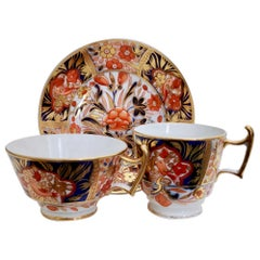 John Rose Coalport Porcelain Teacup, Red Japan Imari with Birds, Regency, 1815