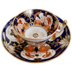 John Rose Coalport Porcelain Teacup, Japan Imari Orange, Regency ca 1815