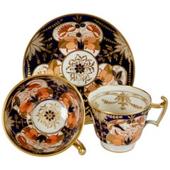 John Rose Coalport Porcelain Teacup Trio, Japan Imari Orange, Regency, ca 1815