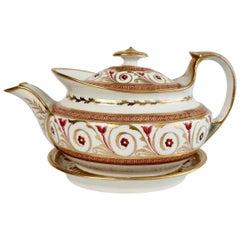 John Rose Coalport Porcelain Teapot, Peach, Gilt and Pink, Regency, circa 1810