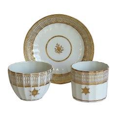 John Rose Coalport Trio Porcelain All Gilded Royal Garter Pattern, circa 1800