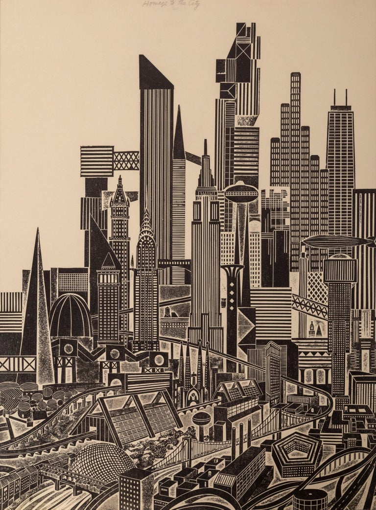 Homage to the City - Day, Triptych - Print by John Ross