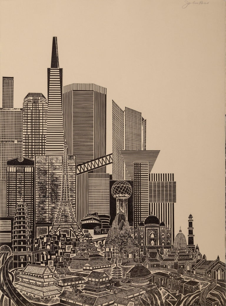 Homage to the City - Day, Triptych - Brown Landscape Print by John Ross