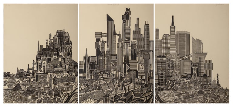 John Ross Landscape Print - Homage to the City - Day, Triptych