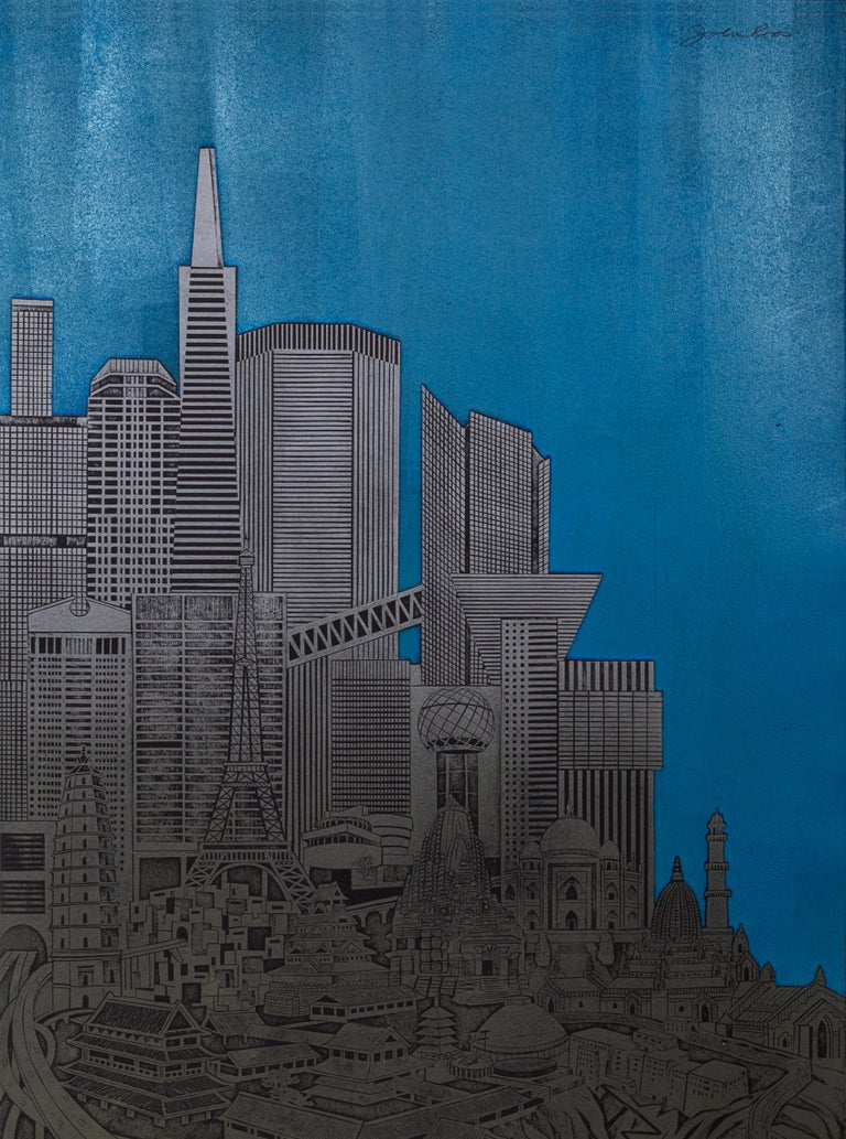 Homage to the City - Night, Triptych - American Realist Print by John Ross