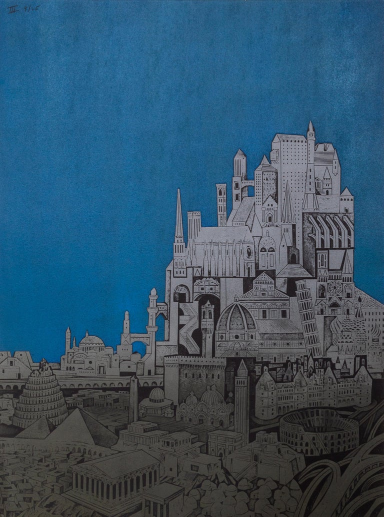 Homage to the City - Night, Triptych - Gray Landscape Print by John Ross
