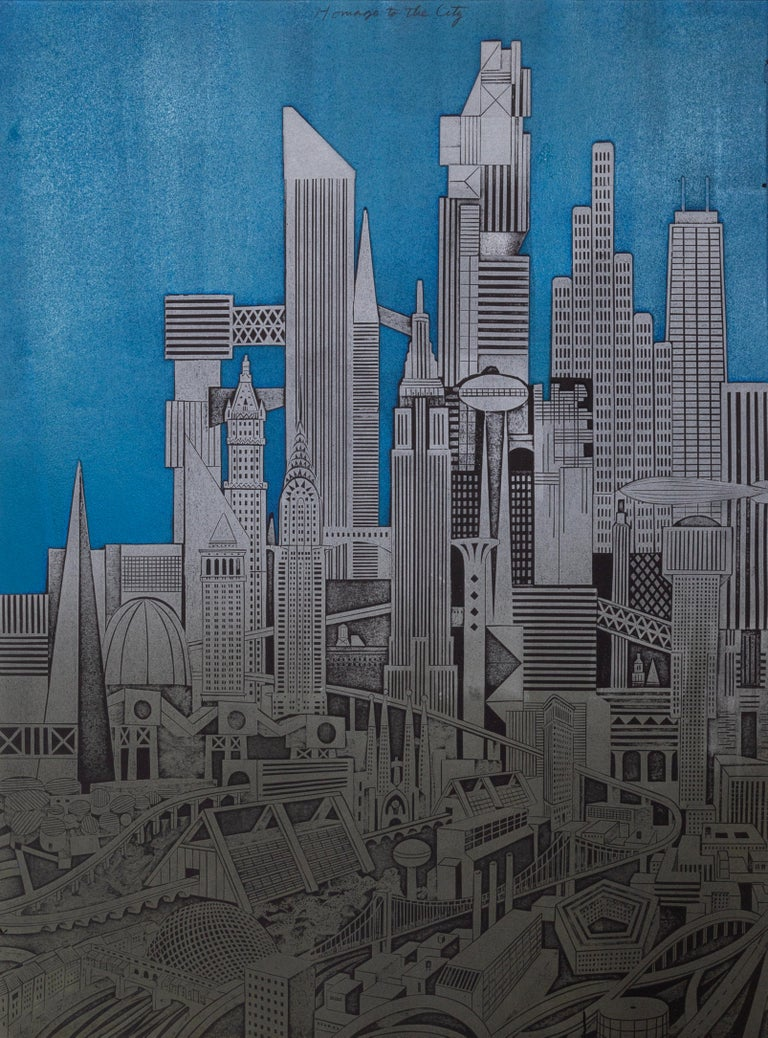 Artist: John Ross Title: Homage to the City, Night Medium: Collagraph Triptych, signed, numbered, and titled in pencil  Edition: 4/25 Size: 29.5 x 22 in. (74.93 x 55.88 cm) Each