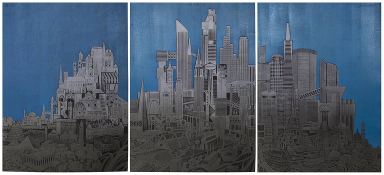 John Ross Landscape Print - Homage to the City - Night, Triptych