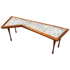 John Rothschild 1965 Signed Walnut Geometric Cocktail Table with Stoneware Tiles
