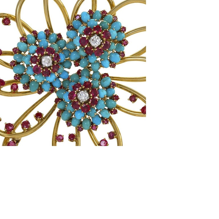 John Rubel Diamond, Ruby and Turquoise Clip Brooch and Earrings Suite In Excellent Condition For Sale In New York, NY