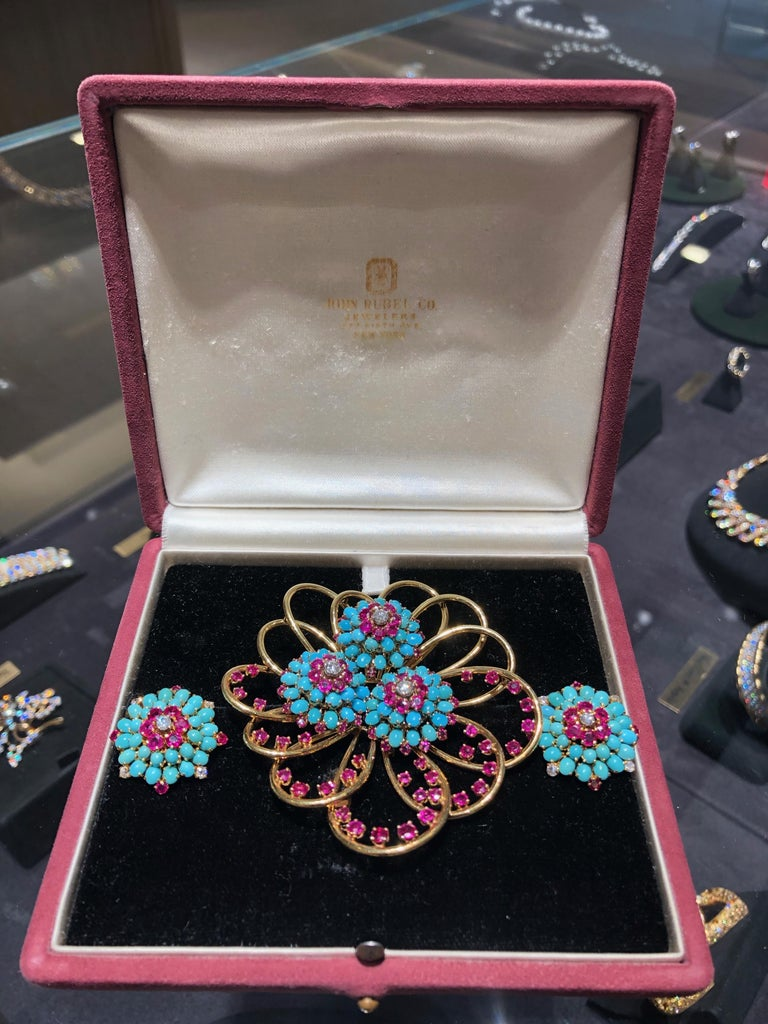 John Rubel Diamond, Ruby and Turquoise Clip Brooch and Earrings Suite For Sale 3