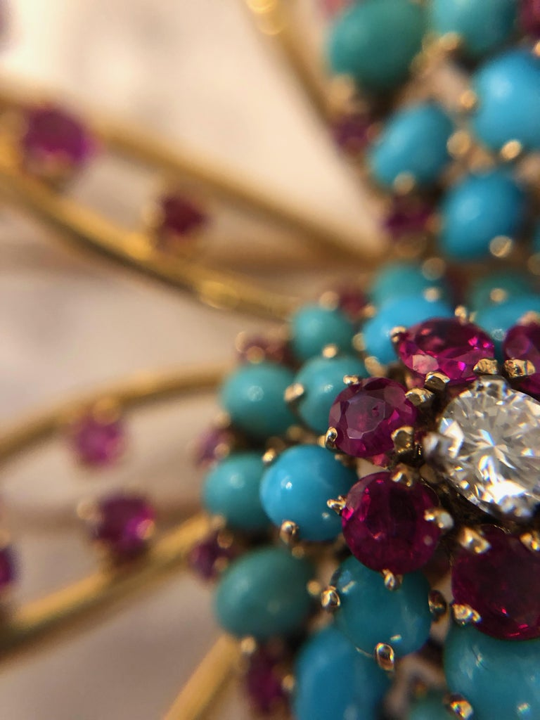 John Rubel Diamond, Ruby and Turquoise Clip Brooch and Earrings Suite For Sale 4