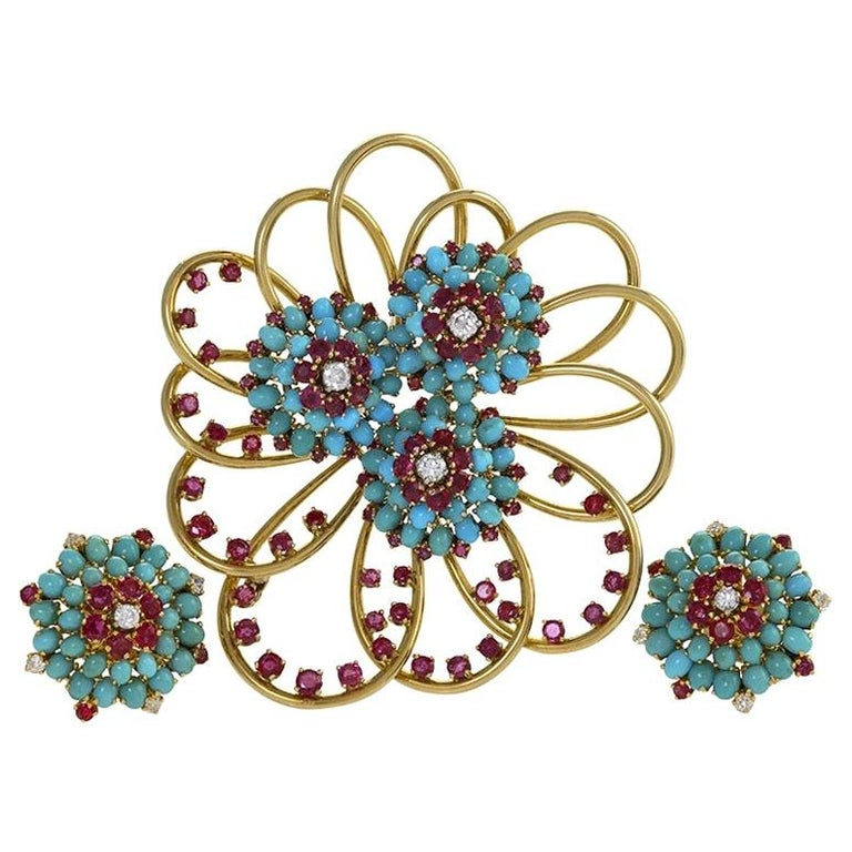John Rubel Diamond, Ruby and Turquoise Clip Brooch and Earrings Suite For Sale
