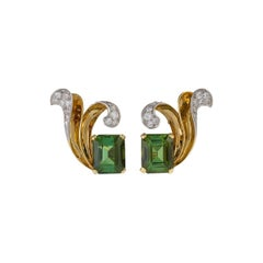 John Rubel Retro Diamond and Tourmaline Earrings