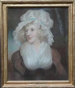 Portrait of Lady in Mob Cap - British Old Master 18th century art oil painting