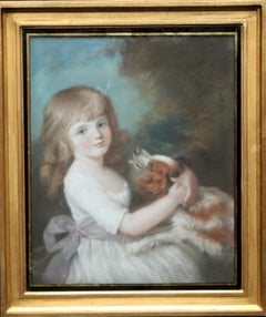 Portrait of Mary Bushby with Dog - British Old Master Regency art oil painting