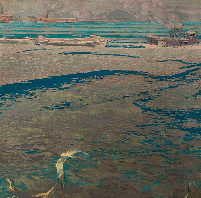 Ice on the Hudson  - American Impressionist Painting by John Rutherford Boyd