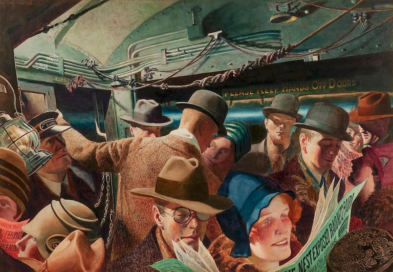 The view of a crammed New York City subway car circa 1928 is depicted in wide-angle vision.  The foreground figures are rendered with the type of lens distortion that is common today in selfies.  Rutherford Boyd was a magazine art director and was
