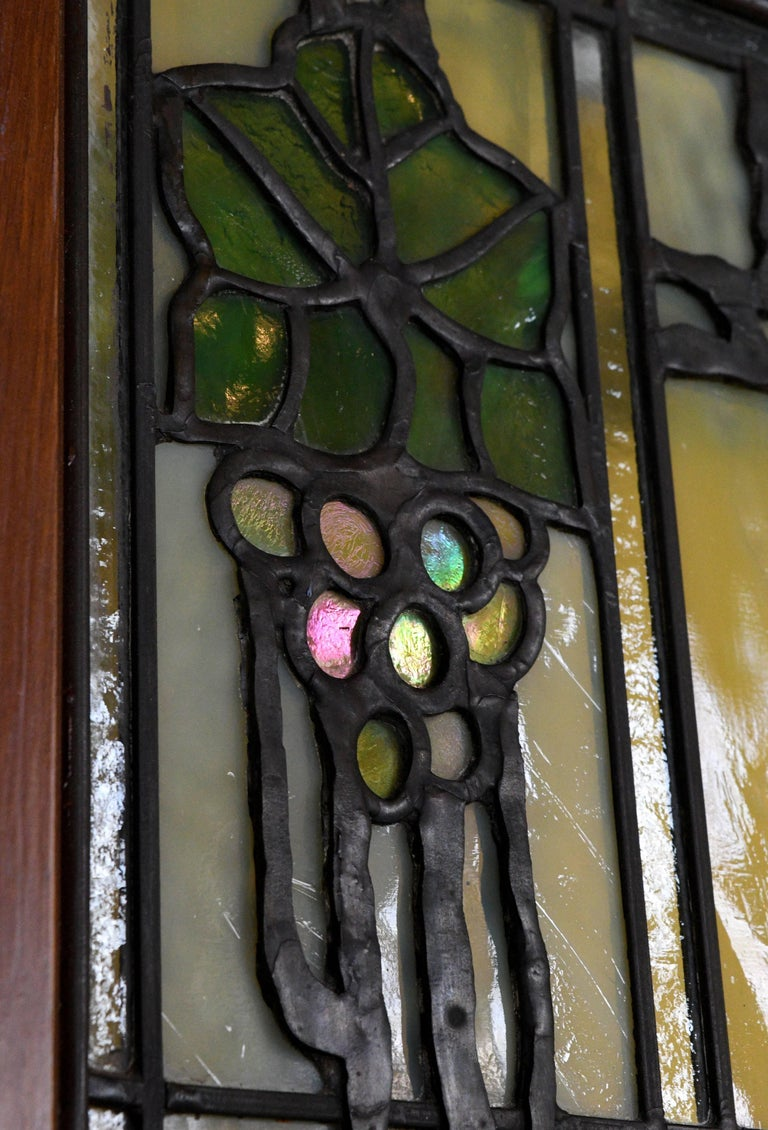 John S. Bradstreet Grape Leaves Stained Glass Window Set For Sale 4