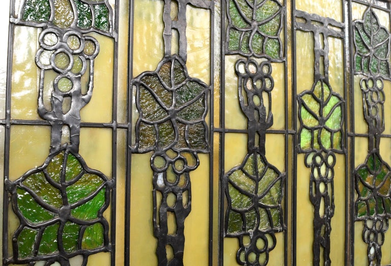 John S. Bradstreet Grape Leaves Stained Glass Window Set For Sale 5