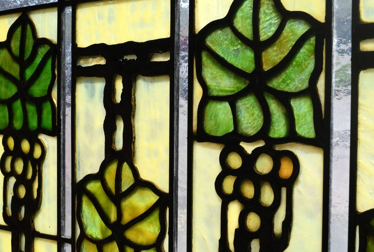 Arts and Crafts John S. Bradstreet Grape Leaves Stained Glass Window Set For Sale