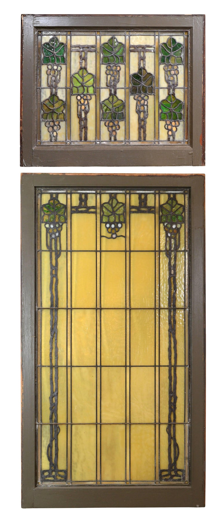 American John S. Bradstreet Grape Leaves Stained Glass Window Set For Sale