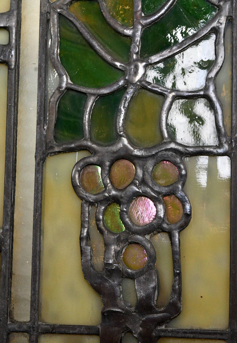 John S. Bradstreet Grape Leaves Stained Glass Window Set In Excellent Condition For Sale In Minneapolis, MN