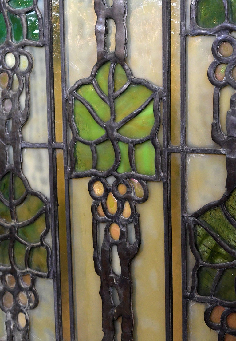John S. Bradstreet Grape Leaves Stained Glass Window Set For Sale 1