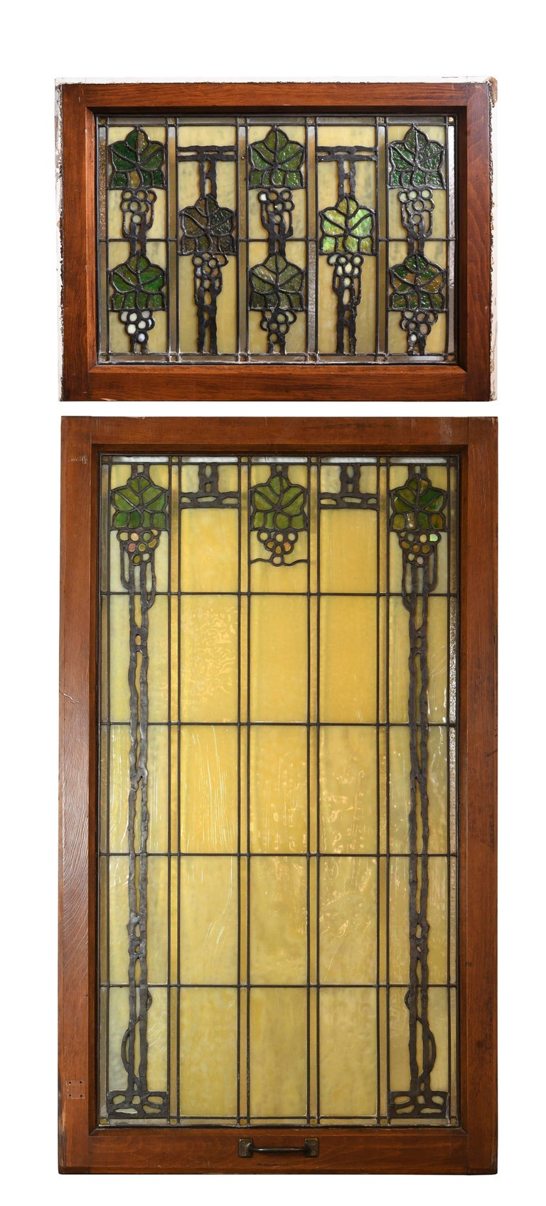 John S. Bradstreet Grape Leaves Stained Glass Window Set For Sale 2
