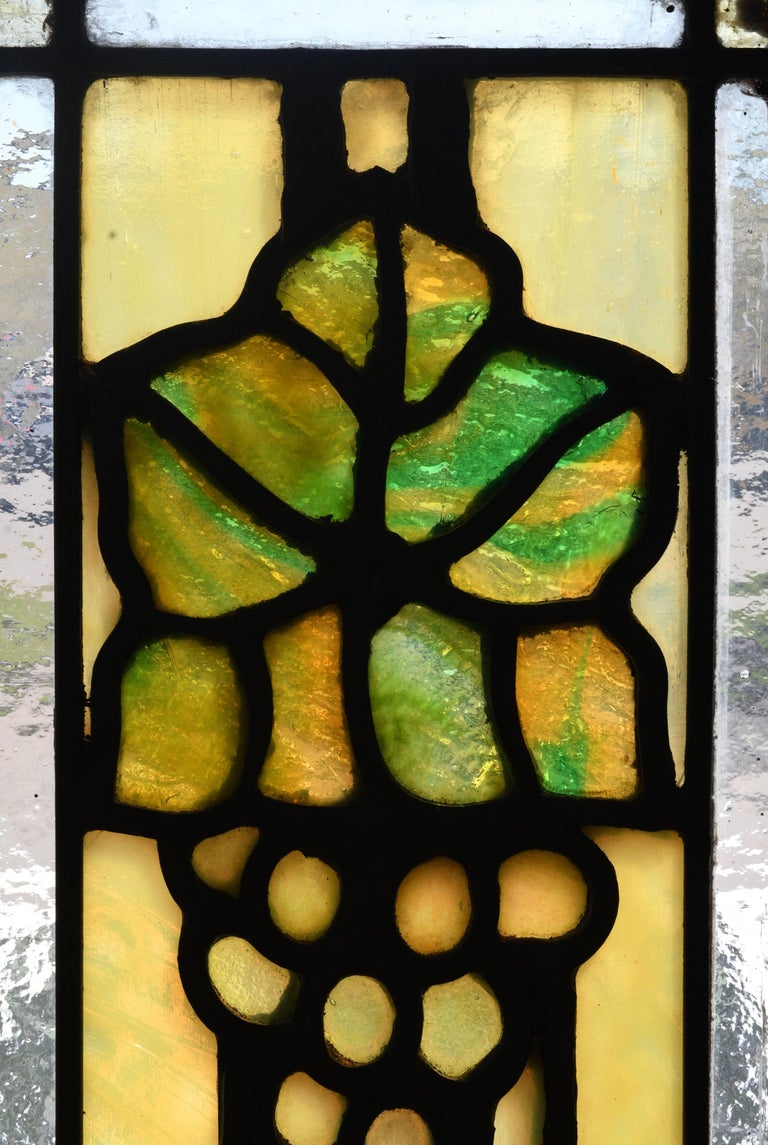 John S. Bradstreet Grape Leaves Stained Glass Window Set For Sale 3