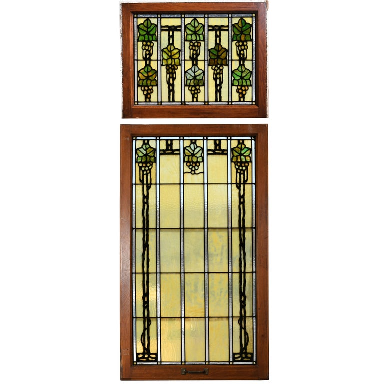 John S. Bradstreet Grape Leaves Stained Glass Window Set For Sale