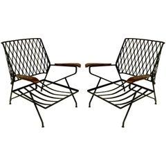 John S. Salterini Wrought Iron & Wood Armchairs, Salterini Furniture of NY
