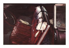 """John Salt-Arrested Vehicle with Red Seats-20"""" x 28.5""""-Offset Lithograph-1972"""