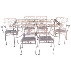 John Salterini 7 Pc Flower Leaf Scrollwork Garden Wrought Iron Dining Patio Set