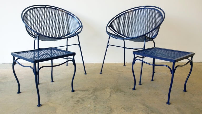 John Salterini Attributed Wrought Iron Enameled in Blue Patio/Garden Stools Pair For Sale 6