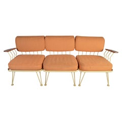 Russell Woodard Teak Paddle Arm Patio Modular Sofa