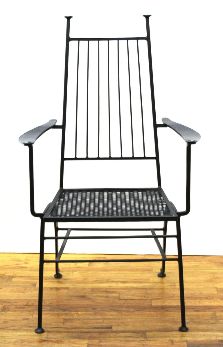 John Salterini for Russell Woddard Mid-Century Modern set of five iron patio chairs. The set comes with individual upholstered seat and back cushions. Makers mark on the back of the seat. In great vintage condition with age-appropriate wear and use.