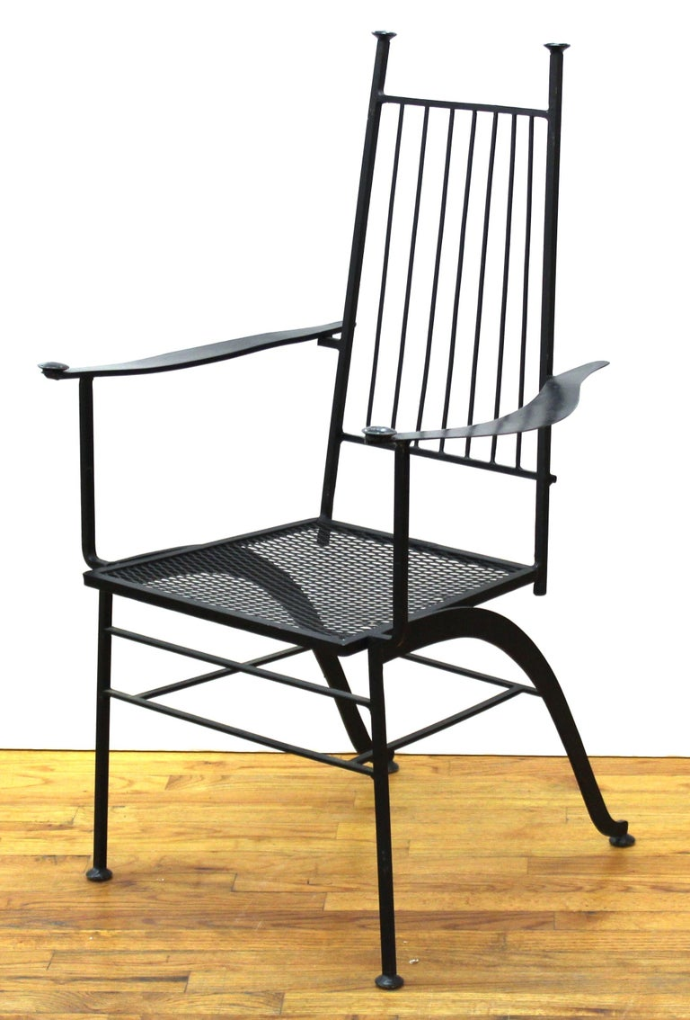 American John Salterini For Woddard Mid-Century Modern Iron Patio Chairs For Sale