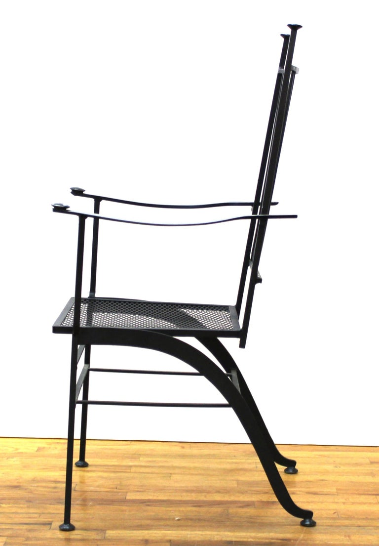 John Salterini For Woddard Mid-Century Modern Iron Patio Chairs In Good Condition For Sale In New York, NY