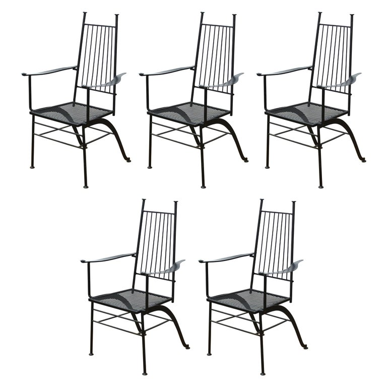 John Salterini For Woddard Mid-Century Modern Iron Patio Chairs For Sale