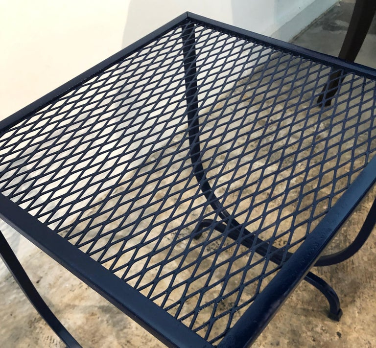 S/3 Salterini Newly Enameled Blue Wrought Iron Patio Stacking / Nesting Tables For Sale 10