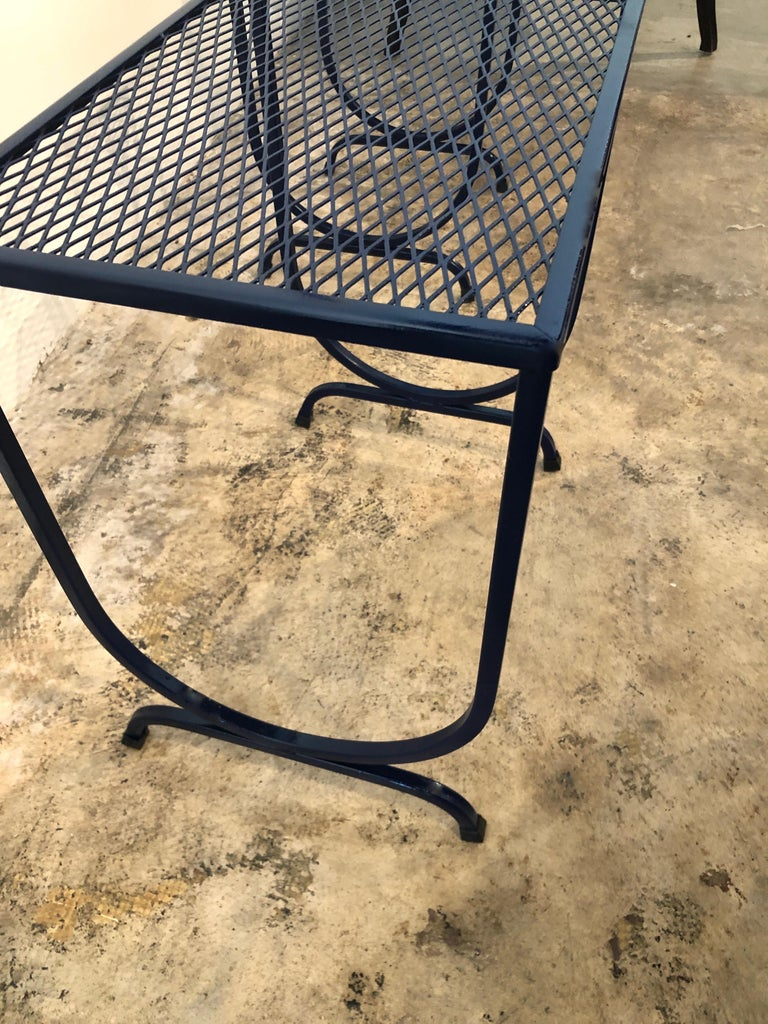S/3 Salterini Newly Enameled Blue Wrought Iron Patio Stacking / Nesting Tables For Sale 13