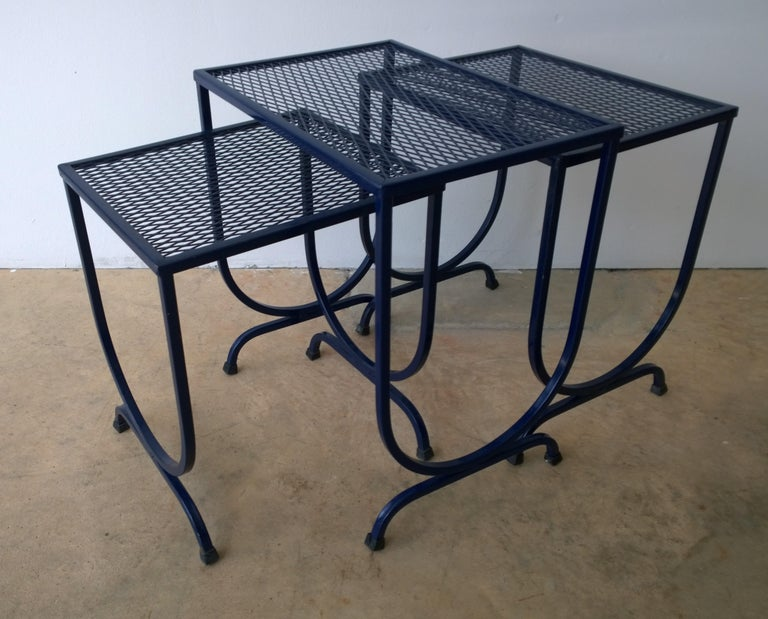 S/3 Salterini Newly Enameled Blue Wrought Iron Patio Stacking / Nesting Tables For Sale 5