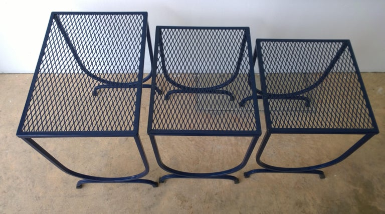 S/3 Salterini Newly Enameled Blue Wrought Iron Patio Stacking / Nesting Tables For Sale 6