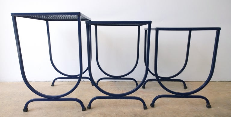 S/3 Salterini Newly Enameled Blue Wrought Iron Patio Stacking / Nesting Tables For Sale 7
