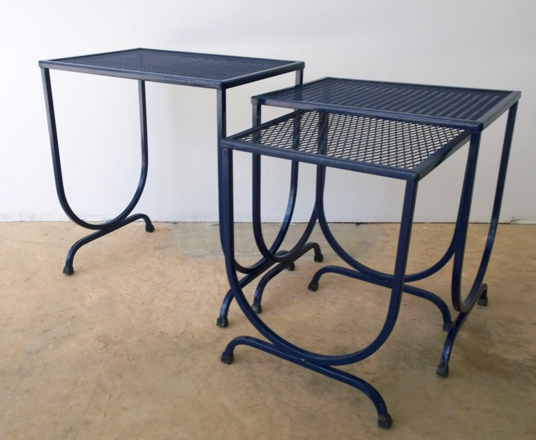 S/3 Salterini Newly Enameled Blue Wrought Iron Patio Stacking / Nesting Tables For Sale 9