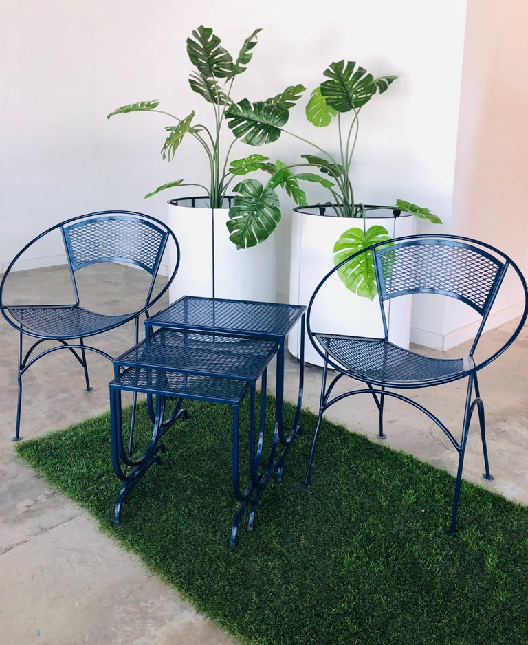 S/3 Salterini Newly Enameled Blue Wrought Iron Patio Stacking / Nesting Tables For Sale 14